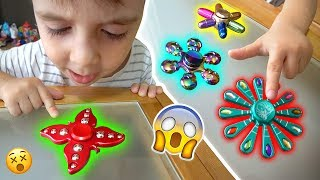 FIDGET SPINNERS RAROS E BARATOS!! 10 Handspinners Cool Cheap Best Rare Toys - Unboxing e Manobras