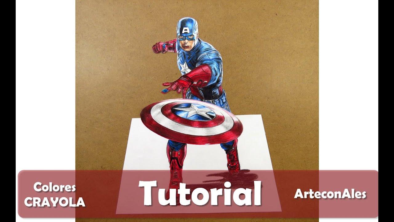 Cómo dibujar al Capitán América PASO A PASO (Lápices de colores ...