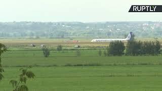 Прямая трансляция с места жёсткой посадки самолёта А-321 в Жуковском