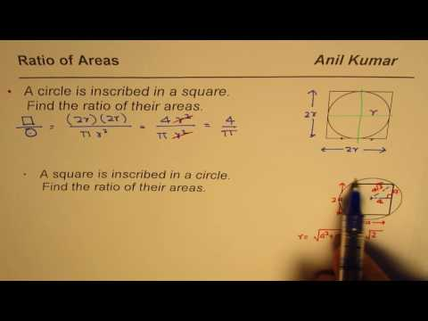 How to compare area of circle and inscribe square
