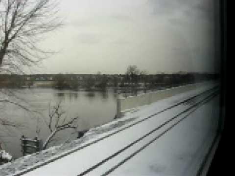 NJT River Line Train Ride in Snow