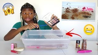Putting My Mom's Makeup Into Clear Slime! She Got Mad!