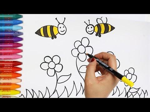Cara menggambar bunga dan lebah - Cara Menggambar dan Mewarnai TV Anak