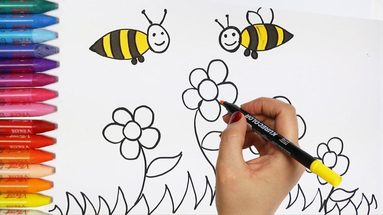 Cara menggambar bunga dan lebah Cara Menggambar dan Mewarnai TV Anak