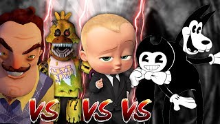 Minecraft HELLO NEIGHBOR VS FNAF CHICA VS BENDY AND THE INK MACHINE VS BOSS BABY!!!! Donut the Dog