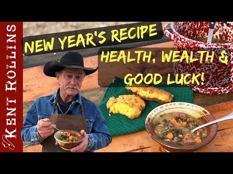 Easy New Year's Recipe - Cowboy Collard Greens And Black Eyed Pea Soup With Bacon Fried Cornbread