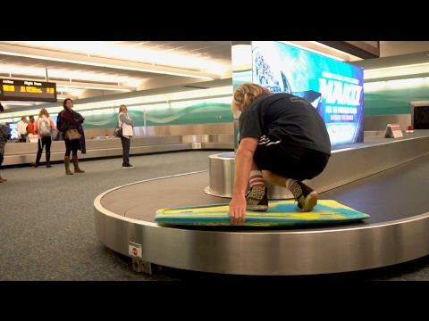 SURFING a PUBLIC AIRPORT BAGGAGE CLAIM
