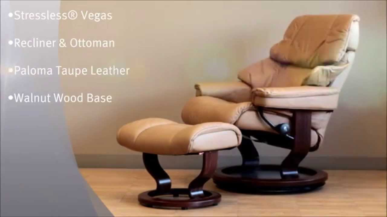 Stressless Ekornes Fauteuils.Stressless Vegas Recliner And Ottoman In Paloma Taupe Leather And Walnut Wood Base By Ekornes