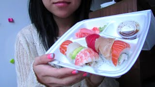 ASMR (Chew View w/ Big Bites) - Rainbow Roll Sushi
