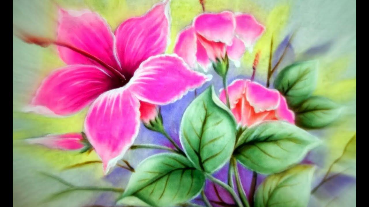 Como pintar hibiscos cor de rosa pintura em tecido for Pinturas para pintar