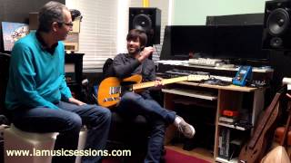 In studio with guitar player Andrew Synowiec