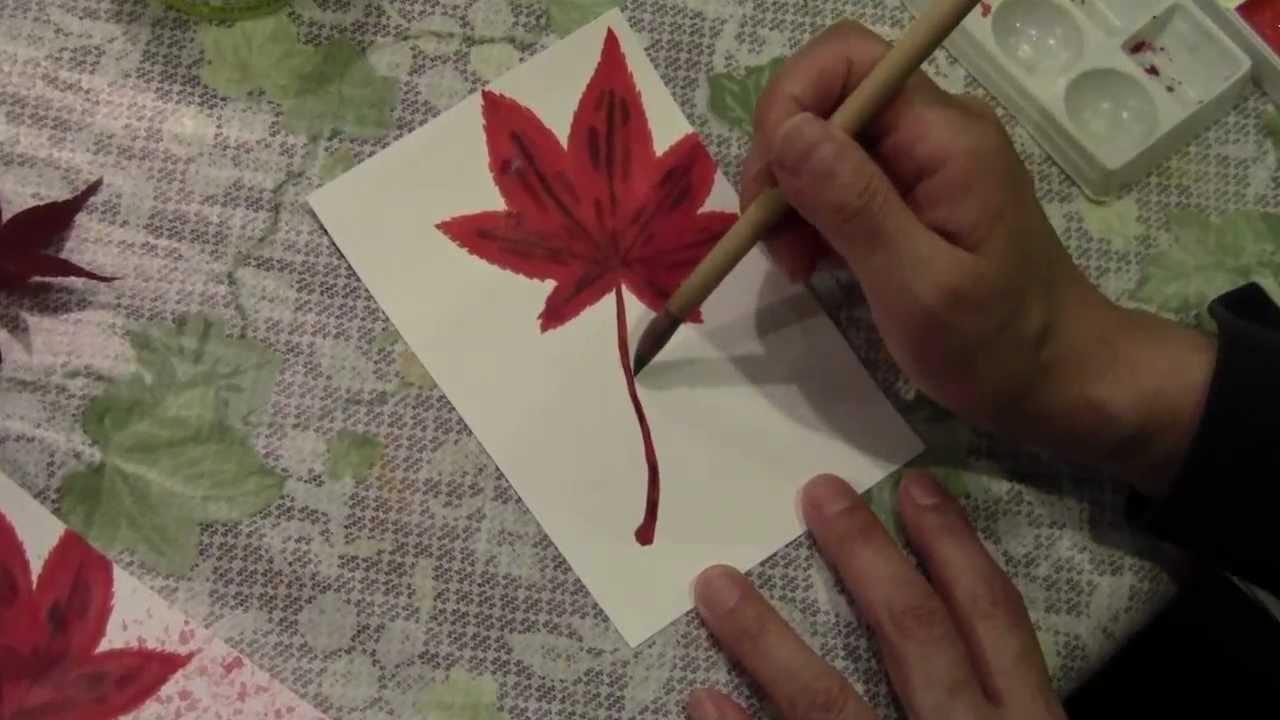 動画で絵手紙もみじの描き方 Youtube