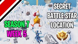 Fortnite Season 7 Week 5 Secret Battlestar / Battle Flag Location (Snowfall Challenges)
