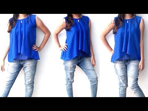 DIY  High Low Net Lace Top Cutting And Stitching Full Tutorial