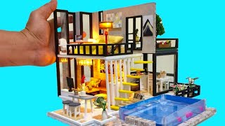 5 DIY BARBIE DOLLHOUSE ROOMS with REAL SWIMMING POOL (bedroom, kitchen, living room, garden, pool)