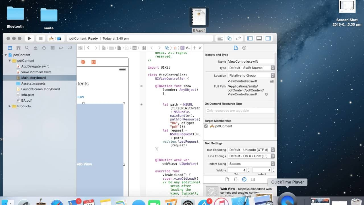 Swift: Display contents of PDF file in app(webView)