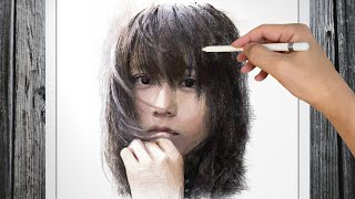 """Drawing The Kasumi Arimura portrait. This channel uses a drawing technique called """"cross hatching"""" and is primarily drawn with lines. 有村架純さんのイラストを ..."""