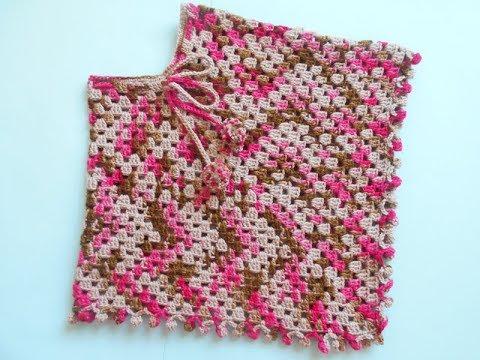 Crochet hooded Poncho for Toddler Tutorial