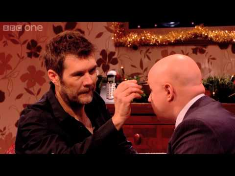 Rhod Gilbert gives Matt Lucas drawn on eyebrows  The Matt Lucas Christmas Awards  BBC One