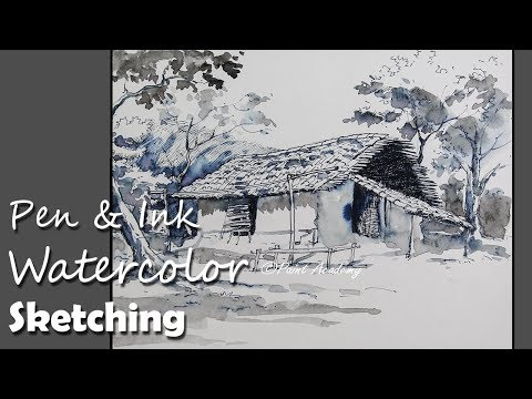 Pen & Ink Watercolor Sketching step by step