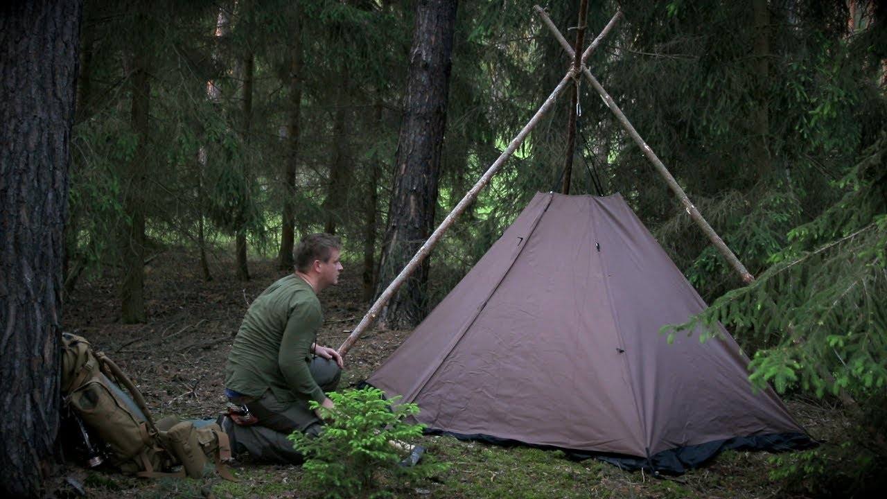 6 Days Solo Bushcraft - Part 1 / Fire in the Canvas Lavvu Tent, Wild Camping Adventure, Root cordage