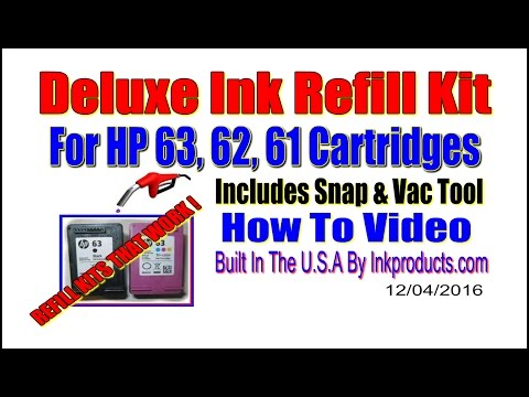 Deluxe Refill Kit For HP 63, 62, 61 Cartridges with Snap & Vac Tool