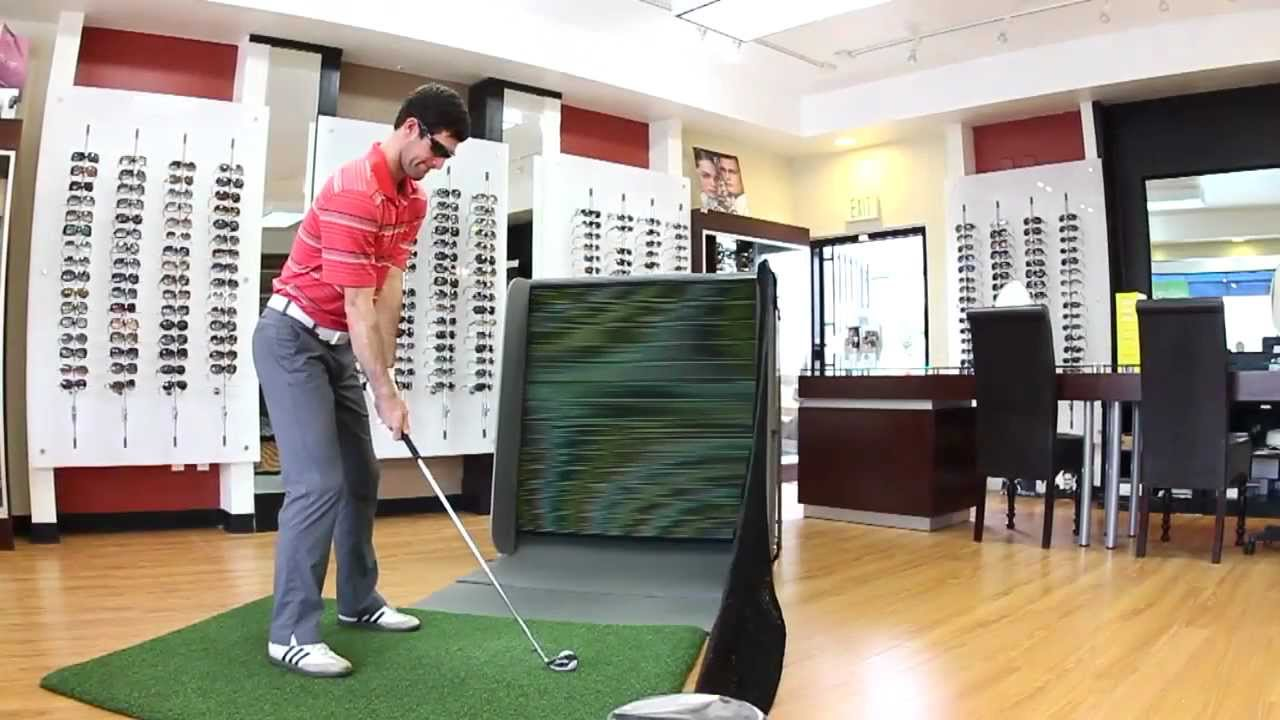 An indoor golf hitting practice net, SwingBox, revolutionary ...