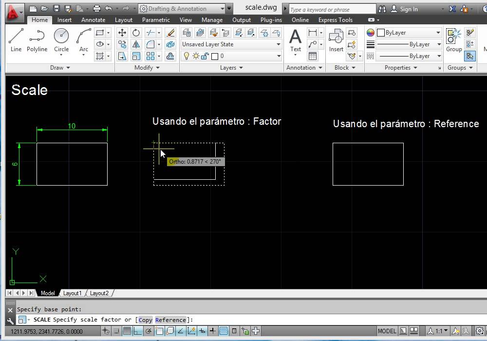 como escalar en autocad - por factor y referencia - YouTube