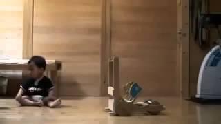 Котенок малыша учит ходить