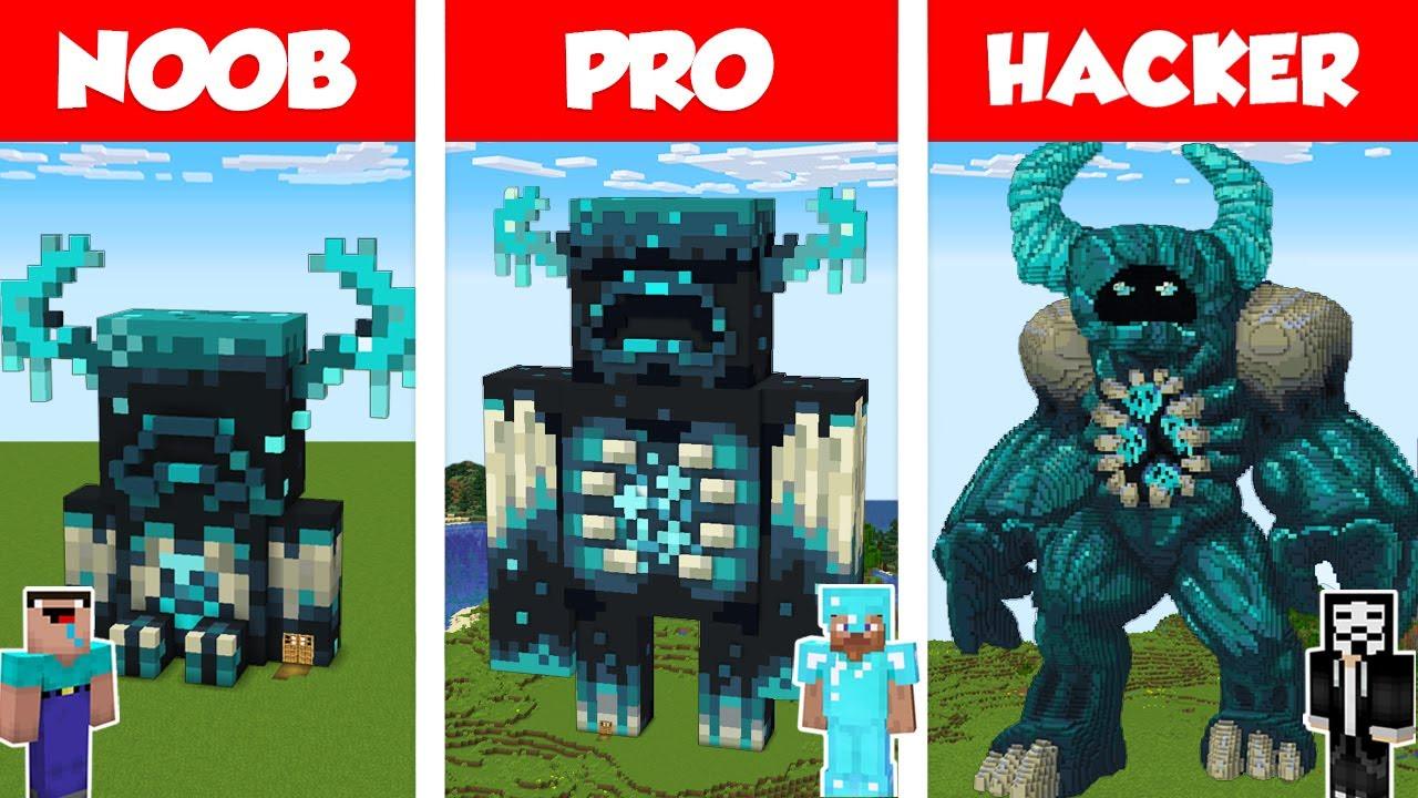 Minecraft NOOB vs PRO vs HACKER: WARDEN STATUE HOUSE BUILD CHALLENGE in Minecraft / Animation