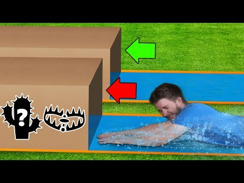 DONT Water Slide through the PAINFUL Mystery Box!!