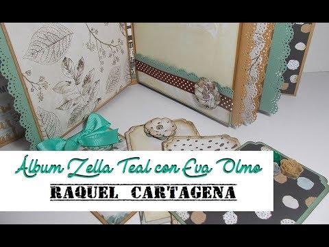 Colaboración con Eva Olmo DIY tutorial álbum Prima Marketing Zella Teal scrapbooking