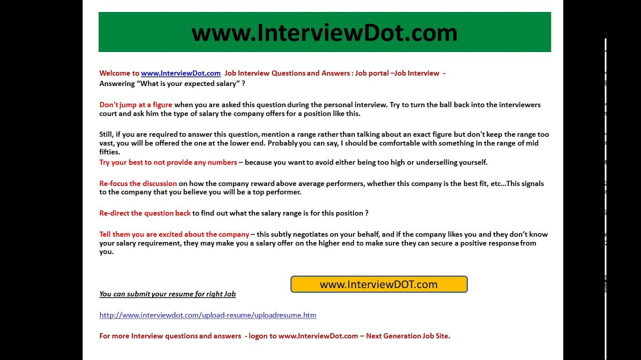 Answering What Is Your Expected Salary Job Interview Question And Answer  Resume Questions