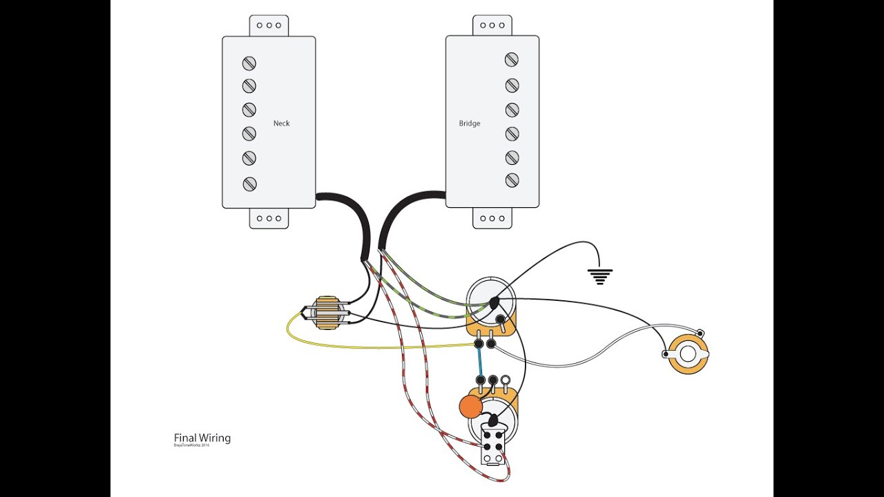 Dual Humbuckers With Master Vol Tone And Coil Splits Youtube P90 Pickup Wiring Diagrams