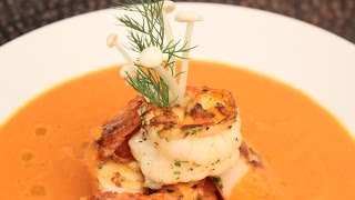 Sun Dried Tomato Soup With Jumbo Shrimp & Ocean Scallops