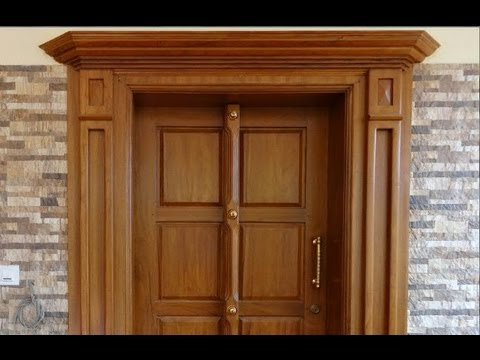 Typical kerala style front door for house youtube for Window glass design in kerala