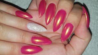 Rose Gold Chrome Nail Design + Almond Shaped Acrylic Nail Art With Chrome Powder