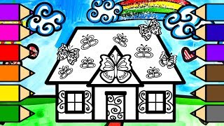 Colouring Butterfly House Colouring Pages with Glitter, Learn to Color for Kids. 💜(4K)