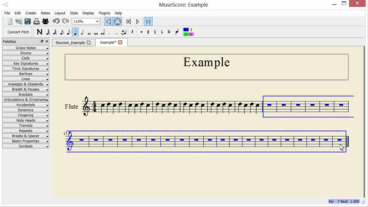 Musescore remove measures