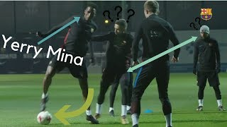 Yerry Mina training with Messi,Jordi Alba, Pique, Suarez ........ (Barcelona VS Espanyol)