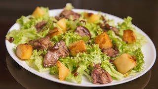Салат с куриной печенью и яблоком | Chicken liver and apple salad