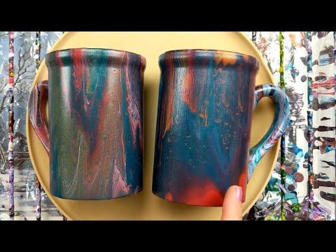 Acrylic Pouring on ceramic coffee mugs