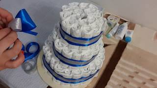Торт из памперсов. Подарок для новорожденных.Cake from pampers.