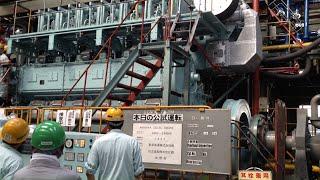 建造中の内航船の大型エンジンを始動させてみた!大型タンカーひなた 4000馬力4サイクル「ショックテスト」に立ち会ってみた!赤阪鐵工所 内航タンカーひなた 造船所さんも同行 東幸海運