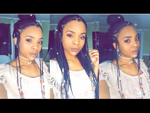 HOWTO| Braids & Beads UpDo (Alicia Keys/Fulani Inspired) | Feedin Braids KadreannaScofield
