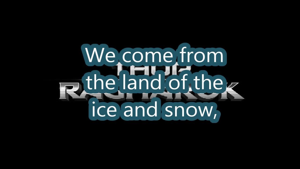 Immigrant Song Lyrics Led Zeppelin Marvel Thor Ragnarok Youtube