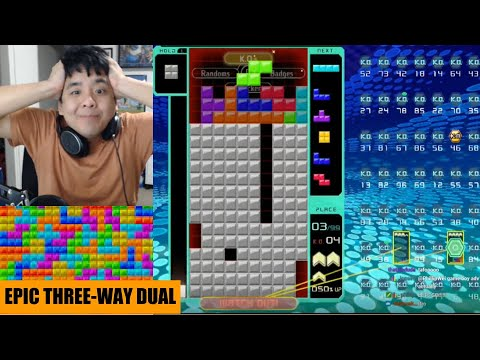 TETRIS 99: EPIC THREE WAY DUEL (4 MINUTE END FIGHT)