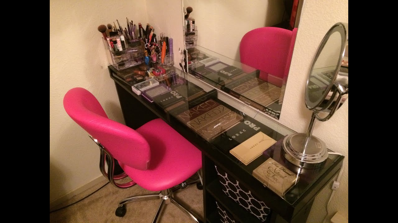 glass set lights cut measurements astonishing makeup x table vanity with mirrored