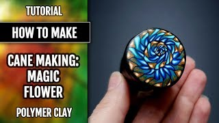 "Polymer Clay Tutorial: Process making Polymer clay cane ""Magic Flower"". How to make."