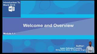 Microsoft   word 2016 Part 1  Overview of the Course